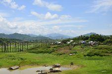 View Of Wooden Bridge In Sangklaburi,Thailand Royalty Free Stock Image