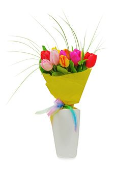 Free Flower Bouquet From Colorful Tulips In White Vase Royalty Free Stock Image - 29616316