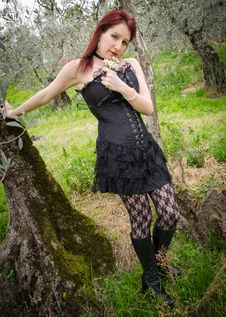Free Gothic Girl With Flowers Stock Photo - 29616980