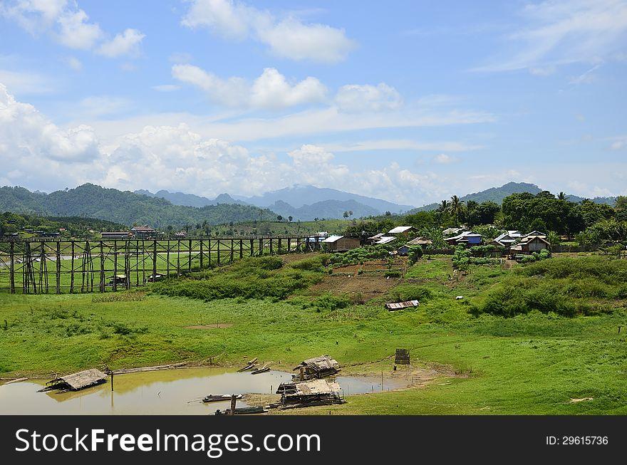 View of wooden bridge in Sangklaburi,Thailand