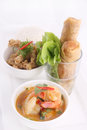 Free Thai Food Set With Rice And Spring Roll. Royalty Free Stock Image - 29623366