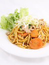 Free Hokkien Noodles With Oyster Sauce And Fresh Vegetables. Stock Photos - 29623573