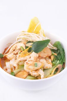 Tom Yum Noodle Soup. Thai Style Spicy Noodle Soup. Royalty Free Stock Photos