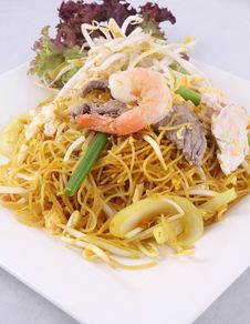 Sigapore Noodles Stir Fried With Vermicelli Noodles. Stock Images