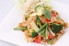 Free Flat Rice Noodle Stir Fried With Thai Herb  And Basil. Stock Photo - 29622840
