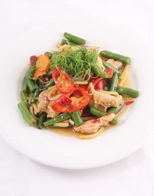Thai Food Stir Fried With Chicken And Chilli Basil. Stock Photo