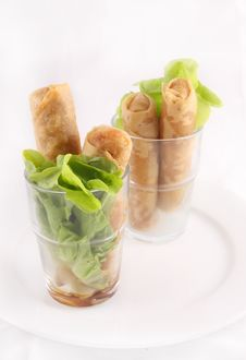 Free Spring Roll With Green Leaves.  Thai Appeitizer Stock Image - 29623731