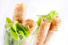Free Spring Roll With Green Leaves.  Thai Appeitizer Stock Photo - 29623830