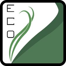 Eco Logo Square - Green Leaves Royalty Free Stock Photo