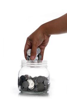 Free Hand Take Tin Coins Stock Photo - 29629650
