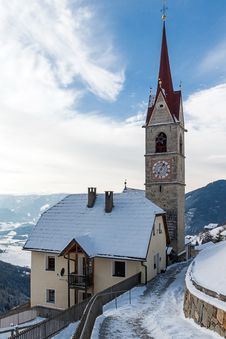 Free A Wintertime View Of A Small Church With A Tall Steeple Royalty Free Stock Images - 29639939
