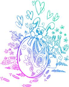 Free Ornate Egg And Easter Bunnies Royalty Free Stock Image - 29640346