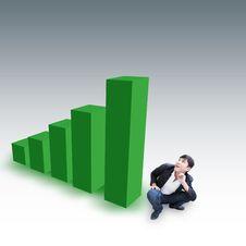 Free Man Vs 3D Chart Royalty Free Stock Image - 29641126