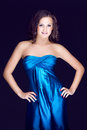 Free Beautiful Brunette In Blue Dress Royalty Free Stock Photo - 29651365