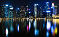 Free Singapore Night Skyline Royalty Free Stock Images - 29655869