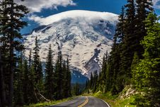 Road To The Majestic Mount Rainier. Royalty Free Stock Photo