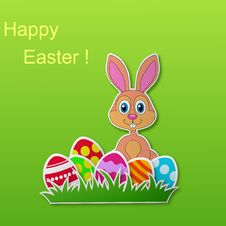 Free Paper Card With Rabbit And Easter Eggs Royalty Free Stock Image - 29664306
