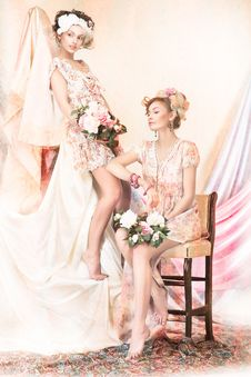 Sophistication. Old-Fashioned Concept. Two Pin Up Girls In Retro Dresses. Luxury Stock Photography