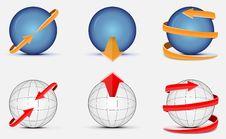 Sphere With Arrows Stock Photos
