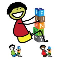 Illustration - Cute Boy&x28;kid&x29; Building Words Using Colorful Block Stock Images
