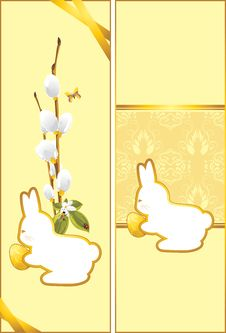 Free Festive Easter Cards With Bunny Royalty Free Stock Photography - 29678867