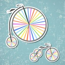 Free Bicycles With Rainbow Wheels Royalty Free Stock Image - 29685996