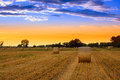 Free Sunset Over The Hay Bale Field Royalty Free Stock Photography - 29693357