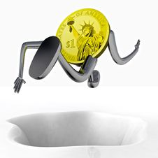 Free Dollar Coin Robot Jumping Above Hole Illustration Stock Photos - 29691303