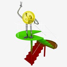 Free Dollar Coin Robot Standing At The Top Of Red Green Staircase Illustration Royalty Free Stock Photos - 29691318