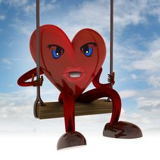 Free Heart Figure Swings On Seesaw In The Sky Stock Image - 29692341