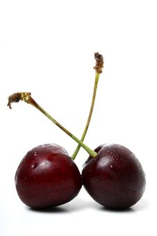 Free Two Black Cherries Royalty Free Stock Photo - 2972925