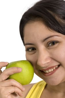 Free Young Lady With Apple Royalty Free Stock Photos - 2975048