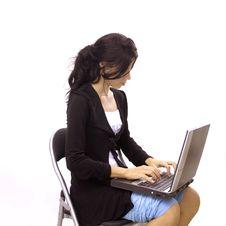 Teen Typing On Laptop Stock Image