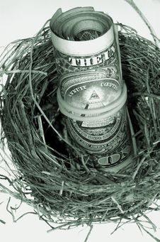 Dollars In Nest. Monochrome. Royalty Free Stock Photo