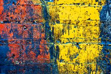 Grunge Painted Brick Wall Stock Photo