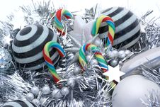 Candy Canes And Striped Balls. Royalty Free Stock Photography