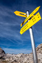 Free Yellow Sign-board Against Mountain Scenery Royalty Free Stock Image - 29704006