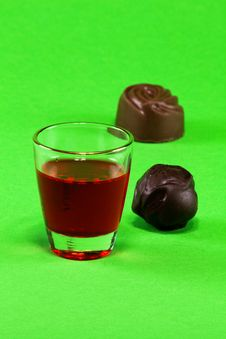 Free Glass With Liquor And Chocolates Stock Image - 29700911