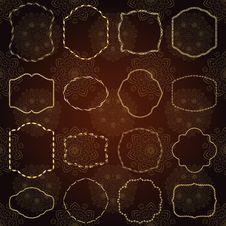 Free Set Of Design Elements-golden Vintage Frames. Stock Photo - 29711450