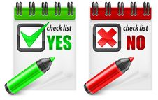 Free Highlighter With Check Mark YES/NO Stock Photography - 29714532