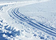 Nordic Skiing Tracks Stock Images