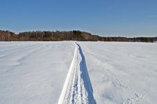 Free Snowmobile Trail In The Field Royalty Free Stock Photography - 29721357