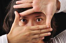 Free Framing Eyes Of Woman Stock Image - 29723671