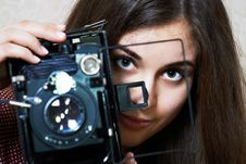 Free Young Girl And Old Camera Royalty Free Stock Photo - 29729435