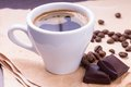Free Cup Of Coffee And Beans With Chocolate Stock Photography - 29738052