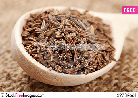 Free Cumin Seeds In Spoon Stock Image - 29739661