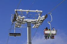 Free Skiers On A Ski Lift Stock Photography - 29730162