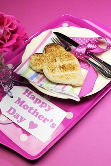 Free Pink Happy Mothers Day Breakfast Tray - Vertical Royalty Free Stock Photo - 29739865