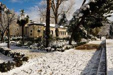 Free Snow Storm With Slush On Sidewalks. Granada Stock Image - 29746151