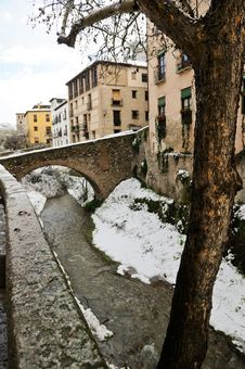 Free Snow Storm With Slush On Sidewalks. Granada Royalty Free Stock Photography - 29746187